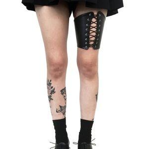 DEANDRI PVC lace up leg harness Burning Man